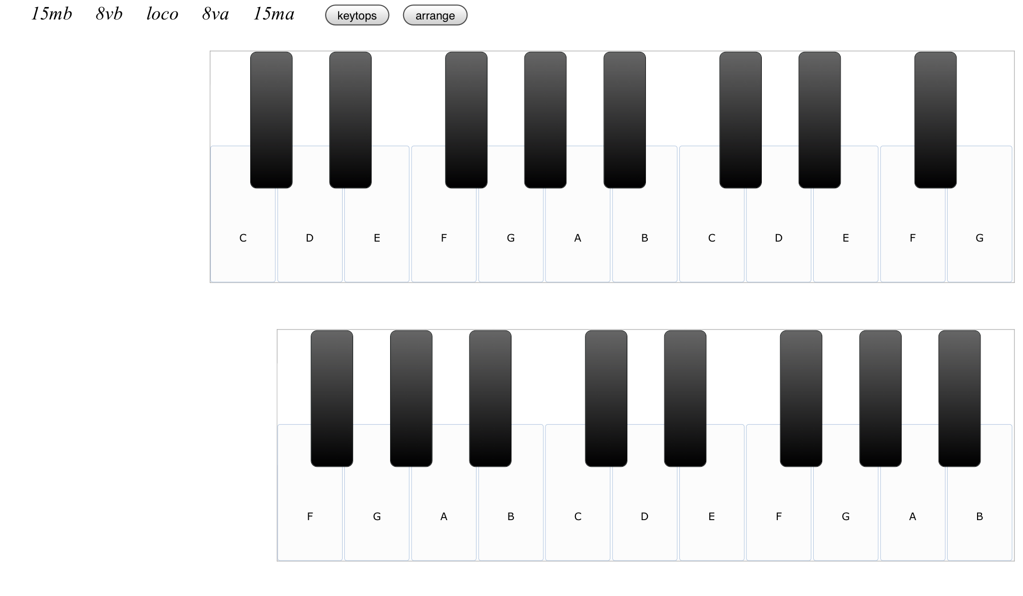 ピアノの音だけ専門のサイトですが、二段構えの鍵盤はまるでオルガンのようですね。