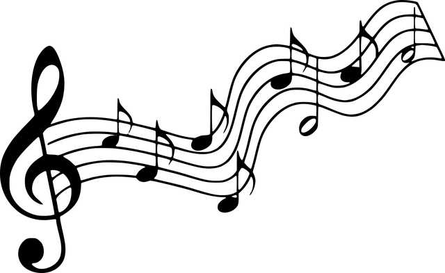 五線譜のト音記号と音符